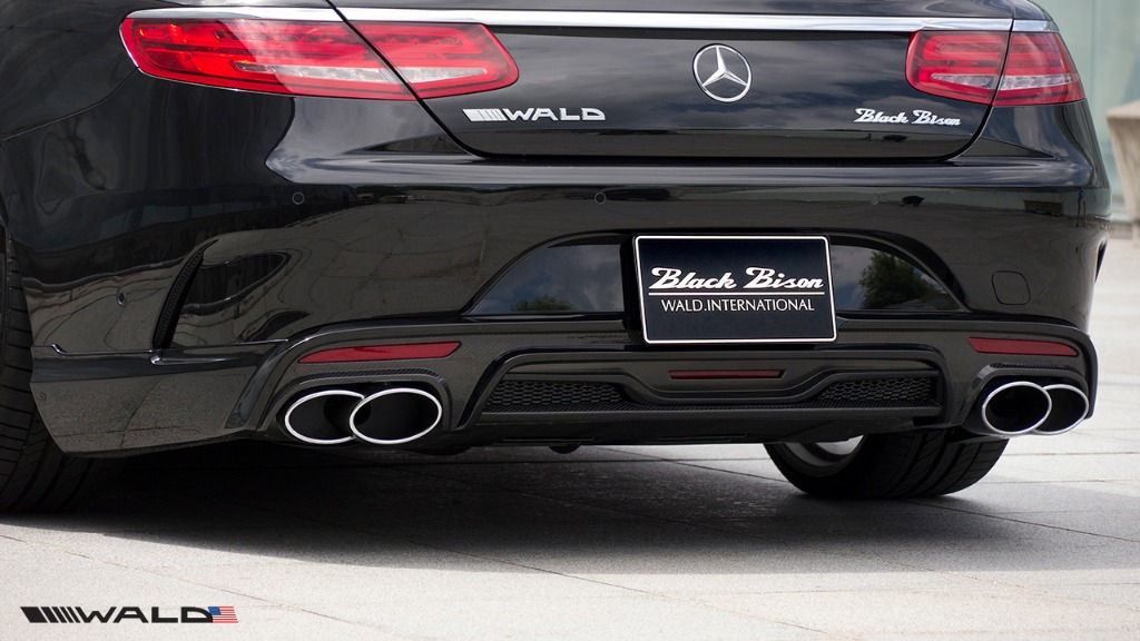 wald mercedes benz c217 w217 s class coupe s550 s63 s65 black bison body kit rear apron lip exhaust tips 2015 2016 2017