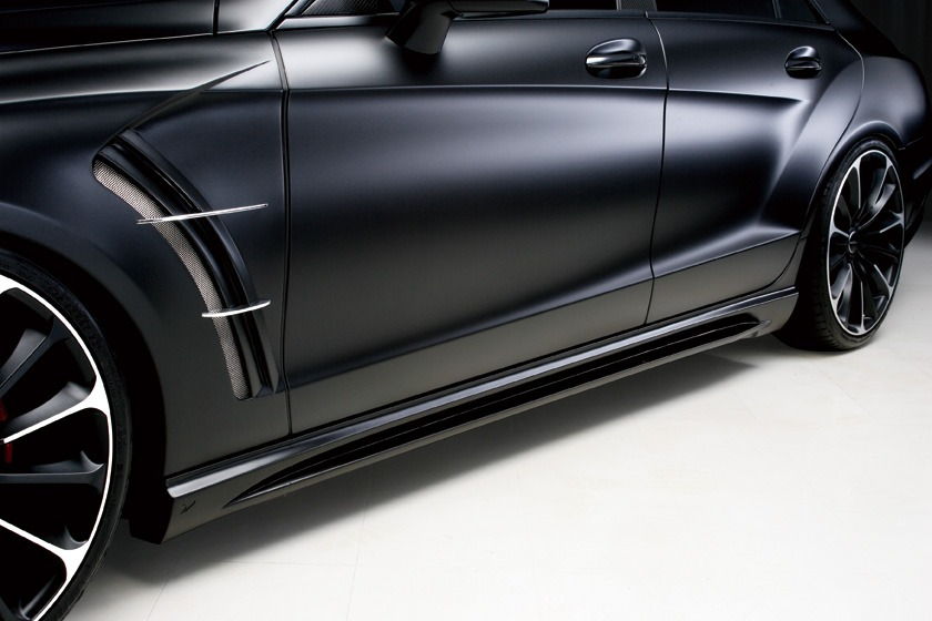 wald mercedes benz c218 w218 cls cls550 cls63 black bison body kit side skirt 2012 2013 2014