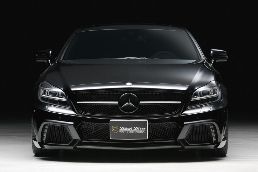 wald mercedes benz c218 w218 cls cls550 cls63 black bison body kit front bumper led 2012 2013 2014