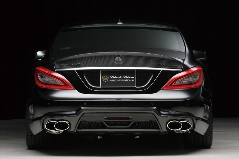 wald mercedes benz c218 w218 cls cls550 cls63 black bison body kit rear bumper exhaust tips 2012 2013 2014