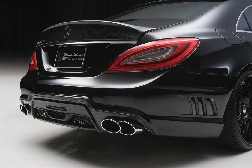 wald mercedes benz c218 w218 cls cls550 cls63 black bison body kit rear bumper sport exhaust exhaust tip 2012 2013 2014