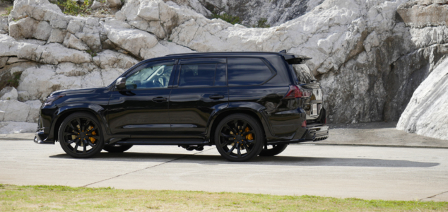 wald lexus lx570 sports line body kit j11c wheels rims black side angle 2016 2017 2018