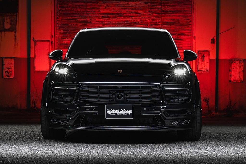 wald black bison porsche cayenne 9ya wide body kit front bumper spoiler 2018 2019