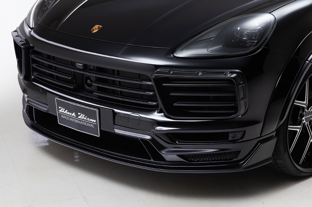 wald black bison porsche cayenne 9ya wide body kit front bumper spoiler i13f forged wheel rim 2018 2019 studio angle