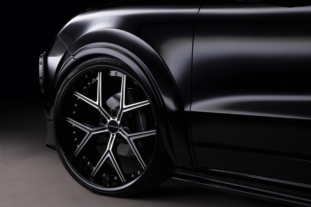 wald black bison porsche cayenne 9ya wide body kit over fender side skirt set i13f forged wheel rim 2018 2019 studio