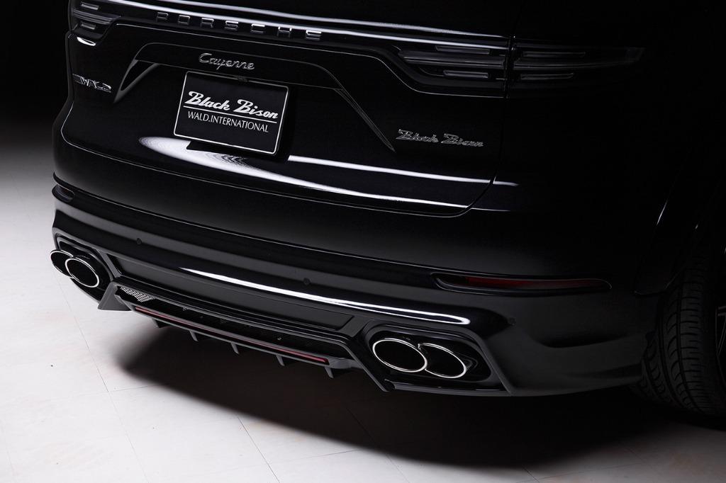 wald black bison porsche cayenne 9ya wide body kit rear bumper spoiler exhaust tips 2018 2019 studio