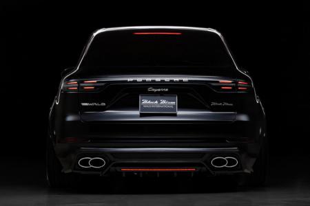 wald black bison porsche cayenne 9ya wide body kit rear bumper spoiler over fender 2018 2019 studio back