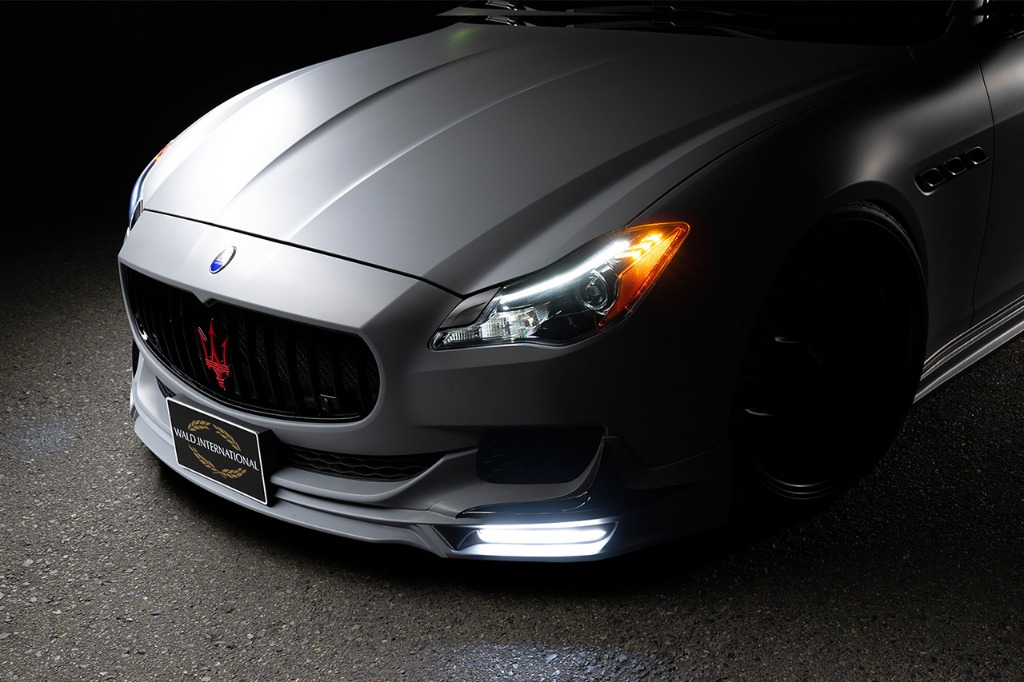 wald maserati quattroporte executive line body kit front spoiler led drl 2013 2014 2015 2016 2017 front angle