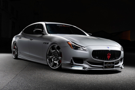 wald maserati quattroporte executive line body kit front spoiler led drl side skirt set v12c wheel rim 22 2013 2014 2015 2016 2017 studio front angle