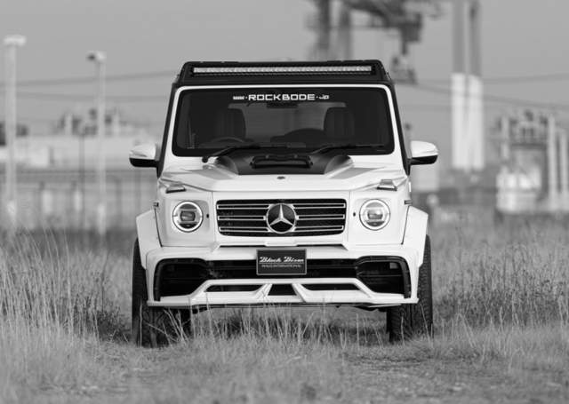 wald black bison w463a mercedes g class g63 g550 body kit front bumper hood panel led bar white 2019 2020