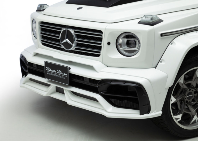 wald black bison w463a mercedes g class g63 g550 body kit studio angle front bumper hood panel fender arch set led bar v12c wheel rim white 2019 2020